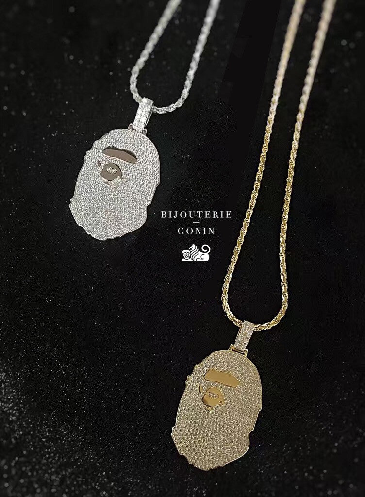 micro bape necklace pendant and chain fully iced