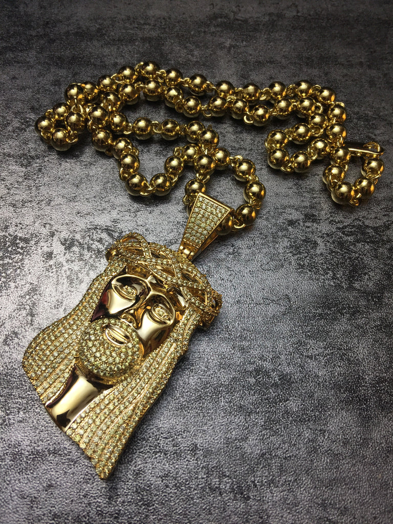 Standard jesus piece fully iced gold lemonade yellow