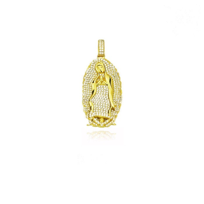 lady of guadalupe virgin mary full iced diamonds pendant gold