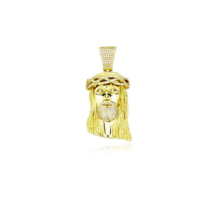 Mid size jesus piece part iced gold