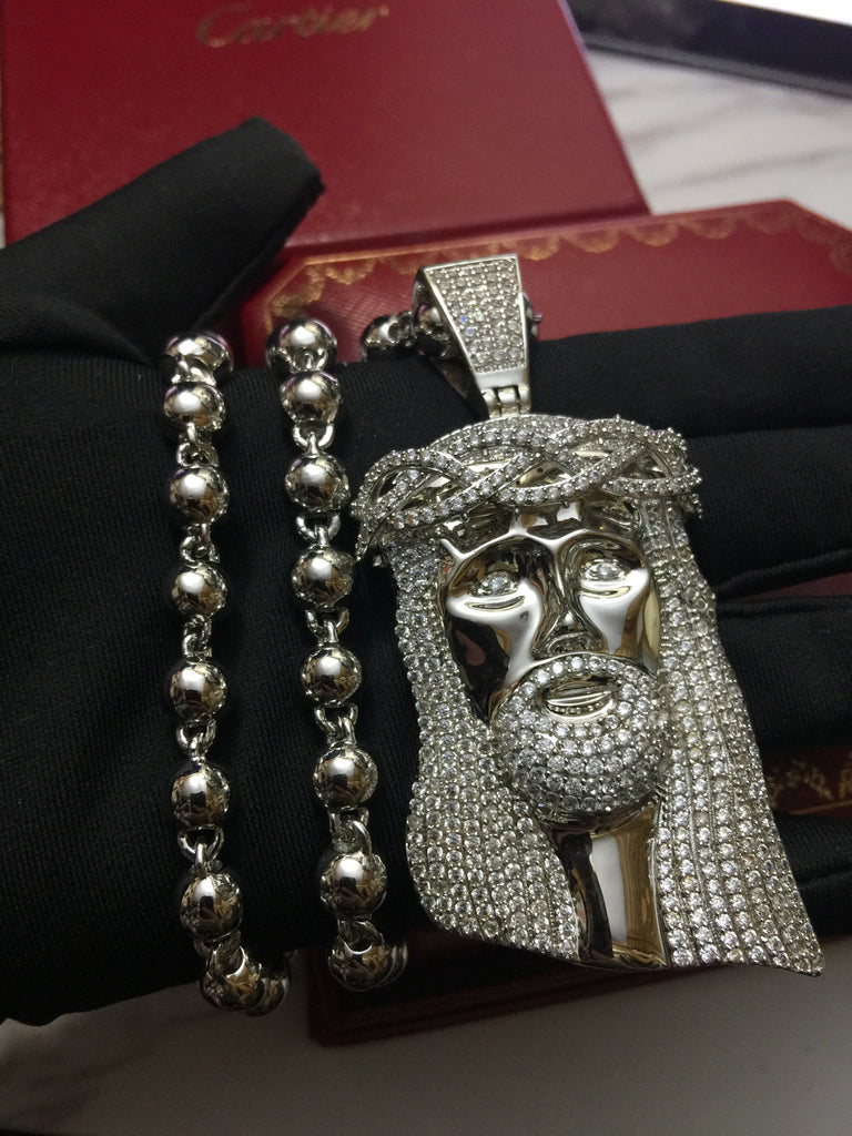 Standard Jesus piece fully iced Silver