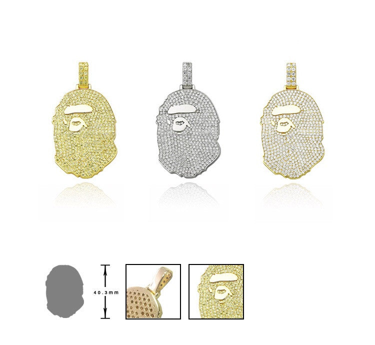Custom diamond Bape pendant & Necklace Yellow gold