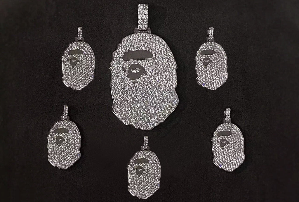 bape necklace. regular and micro in white diamonds