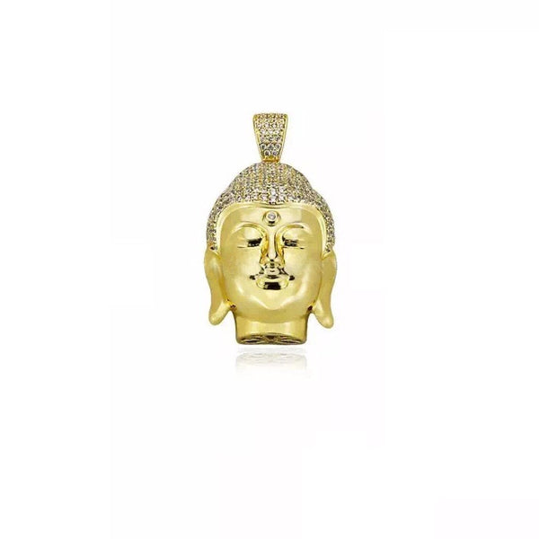 buddha head half face pendant gold