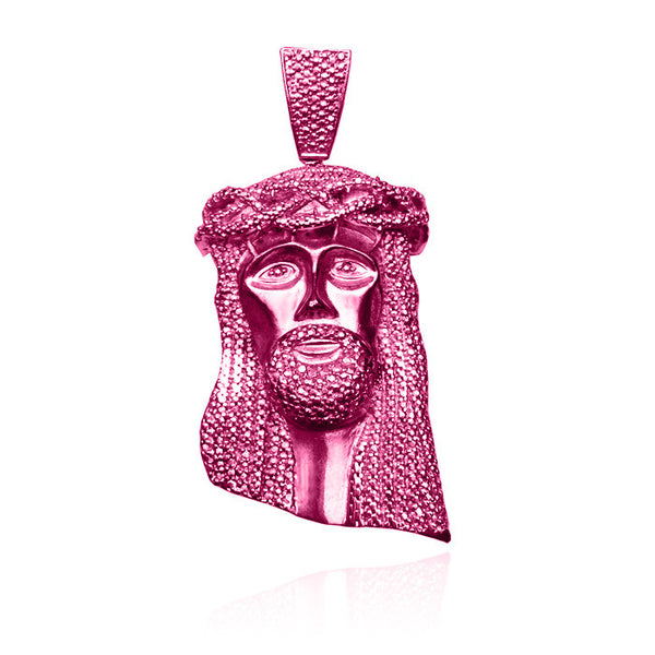 Standard jesus piece no diamonds in pink with beaded chain set