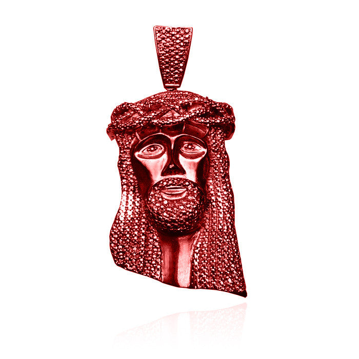 Standard jesus piece no diamonds in yeezy red with beaded chain set