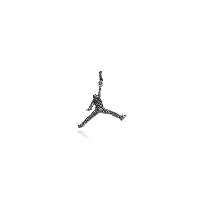 Jumpman jordan pendant black iced diamonds necklace