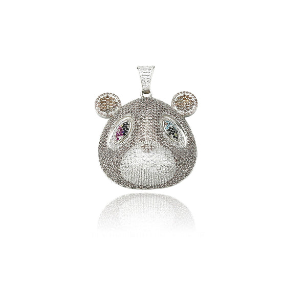 Kanye West college dropout bear pendant with Rope chain necklace in Silver