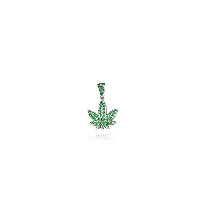 leafy mini pendant necklace green silver