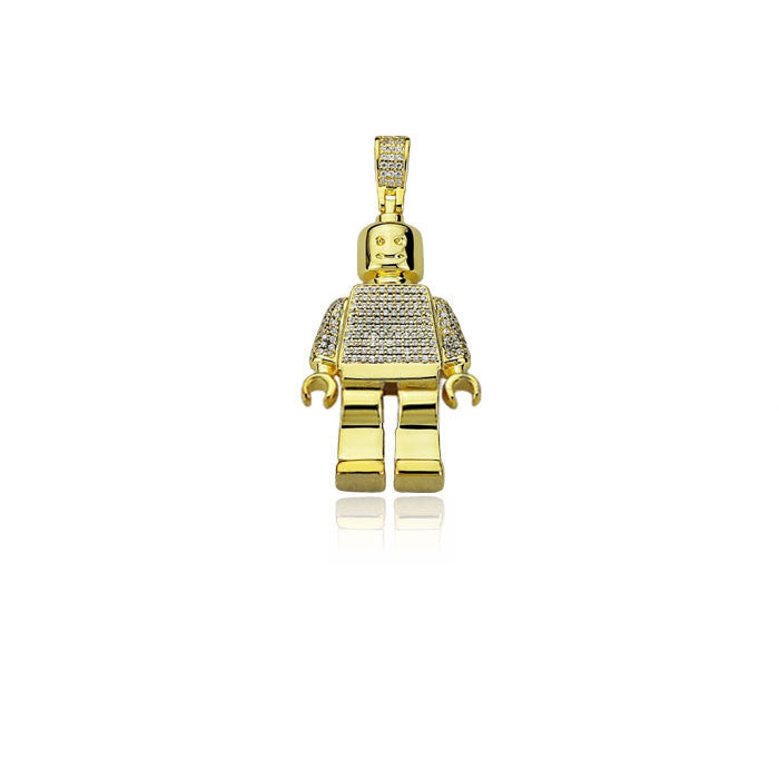 Lego man pendant fully iced Gold