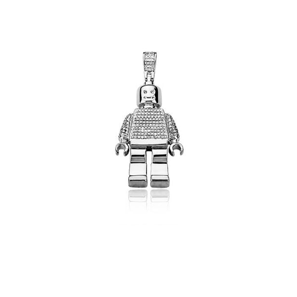 Lego man pendant fully iced Silver