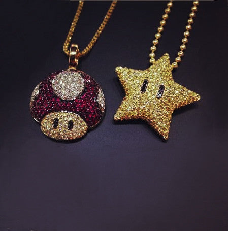 Micro mario mushroom pendant with matching ball chain necklace mario mushroom star chain mozeypictures Gallery