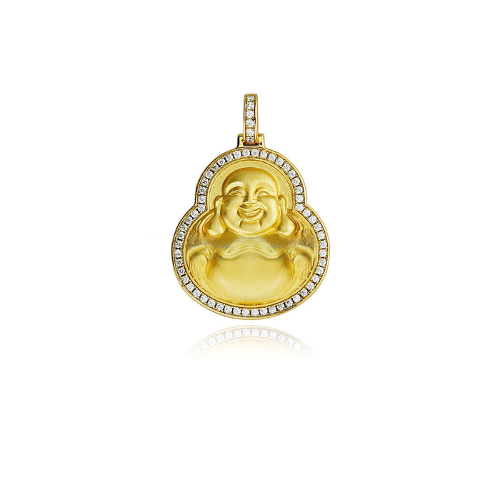 Micro Laughing Buddha iced border pendant necklace free chain