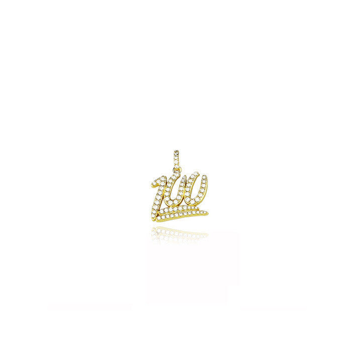 mini 100 pendant chain diamonds gold