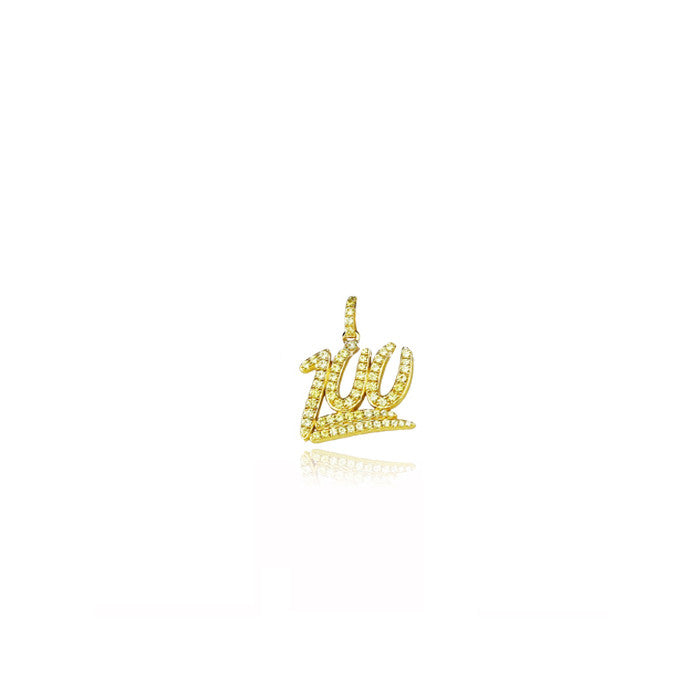 mini 100 pendant chain diamonds gold yellow