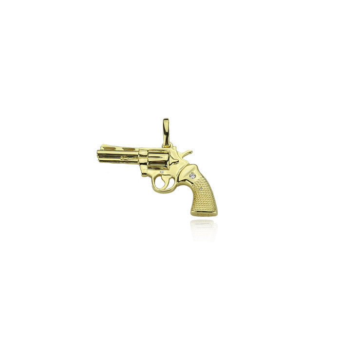 gun mk2 pistol pendant gold 22mm necklace