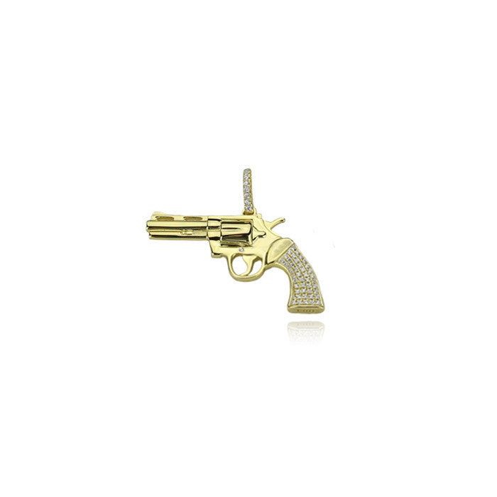 gun mk2 pistol pendant gold 22mm necklace iced