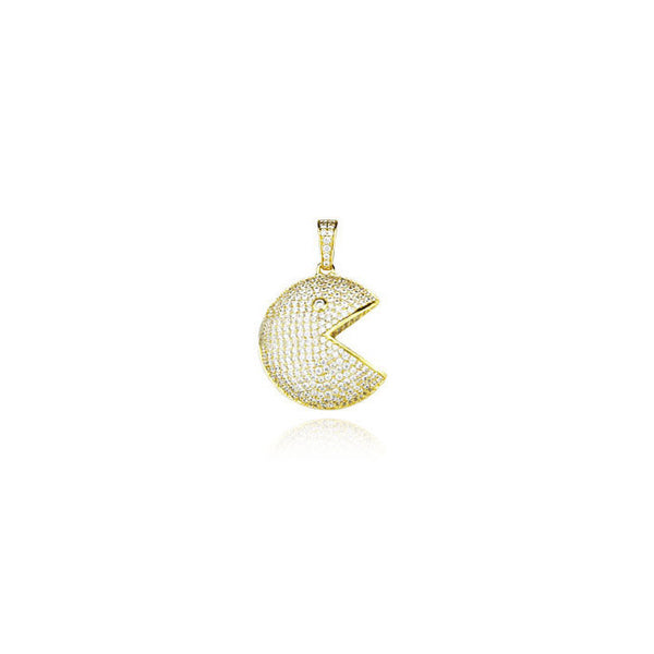 Pacman pendant in gold necklace chain diamonds