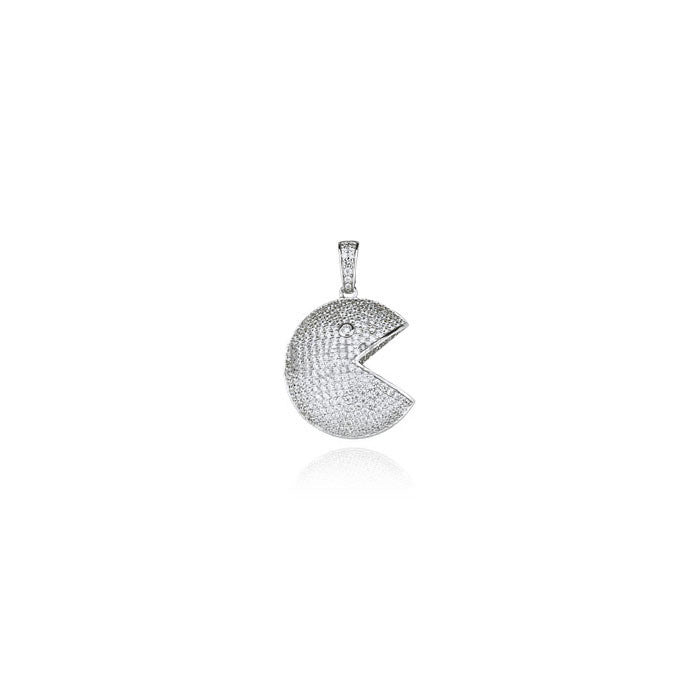 Pacman pendant in silver necklace chain diamonds