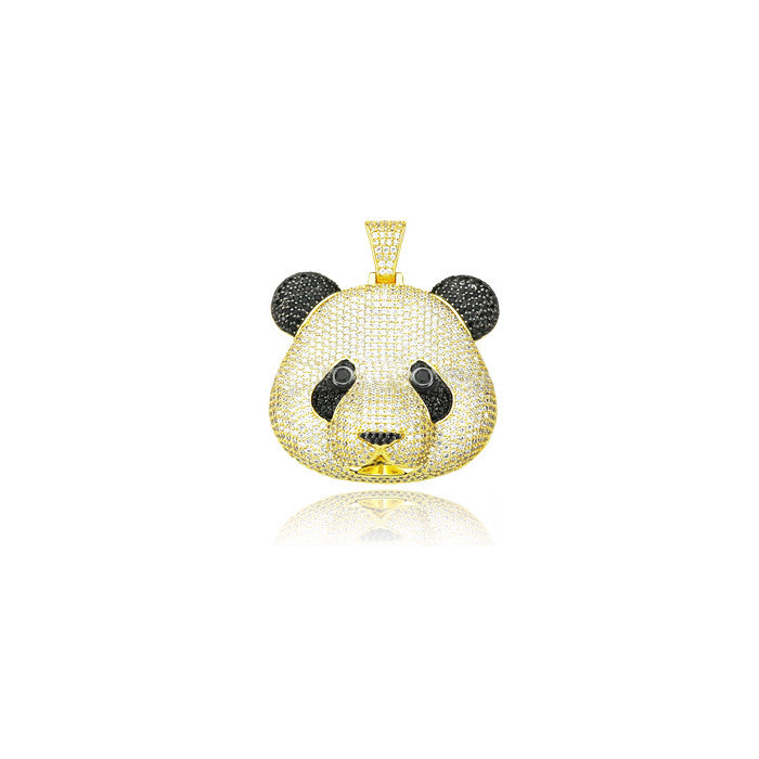 desiigner panda pendant chain diamonds gold