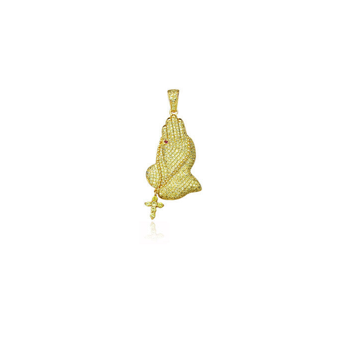 Praying hands mini pendant in gold with yellow diamonds
