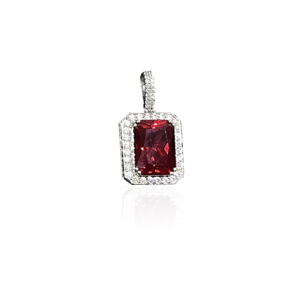 Red Ruby gem pendant single silver