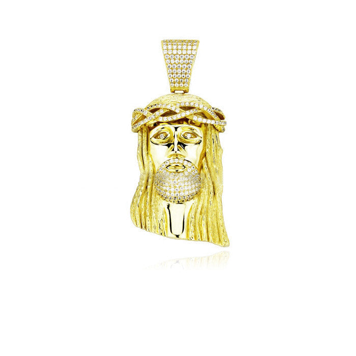 standard jesus piece part iced in gold beaded chain