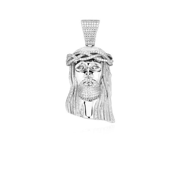 standard jesus piece part iced in silver beaded chain