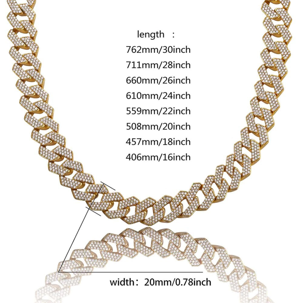 curb cuban link 20mm necklace chain fully iced custom clasp diamond ifandco