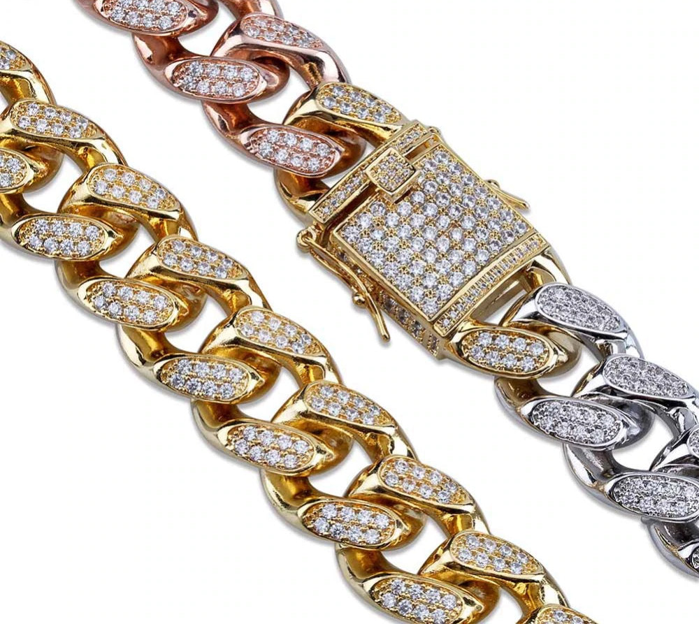 Miami Cuban Chain 14mm 18mm tri-colored Necklace Chain For Men Gold Silver Color Iced Out Micro Pave Cubic Zircon Hip Hop Jewelry shopgld