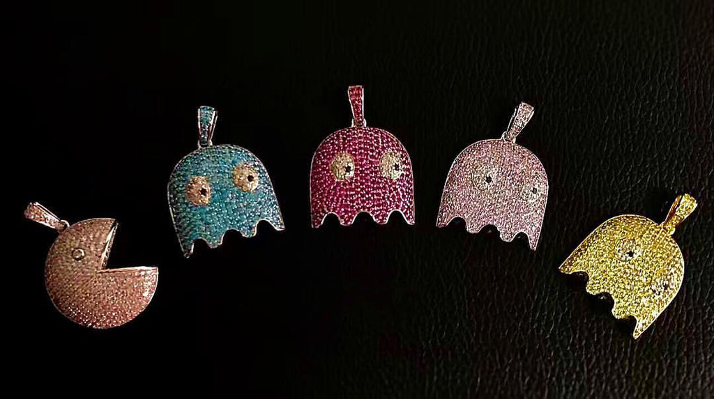 Ghost pacman pendant necklace