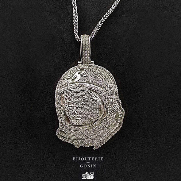 BBC Billionaire Boys Club astronaut pendant necklace chain silver