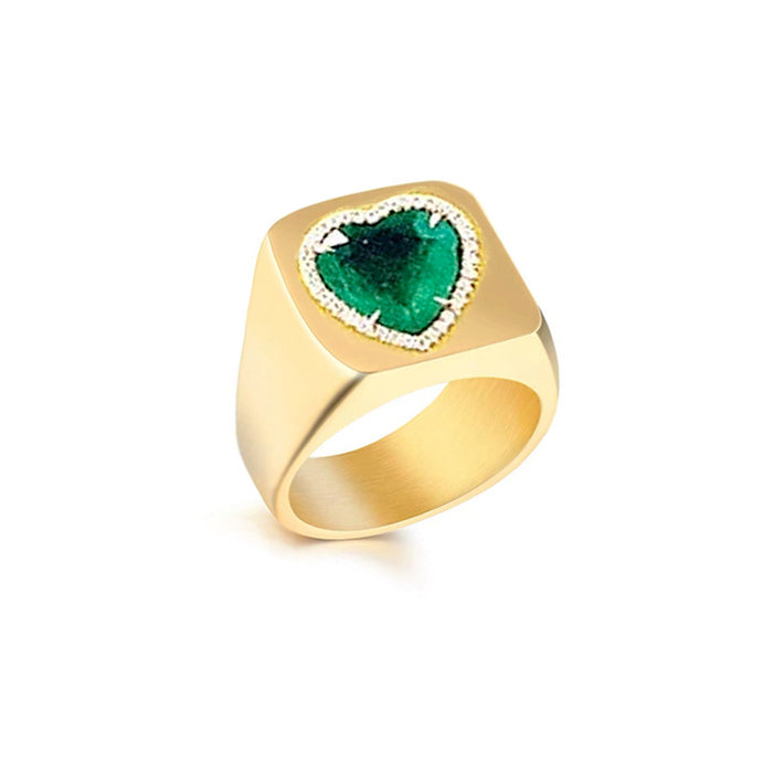 Tyler the creator green heart ring emerald diamond custom made diamond vvs ifandco