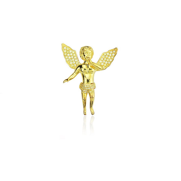 Baby cherub open wings pendant gold