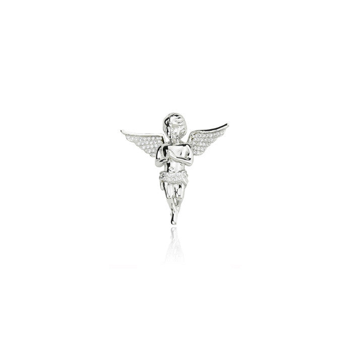 Cherub angel praying hands silver 31mm pendant