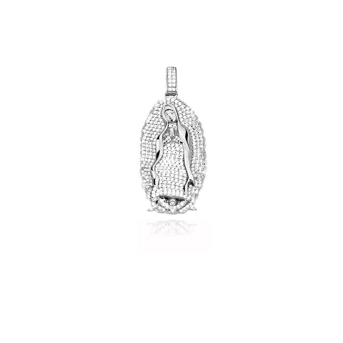 lady of guadalupe virgin mary full iced diamonds pendant silver