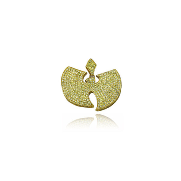wu tang pendant fully iced gold with yellow diamonds