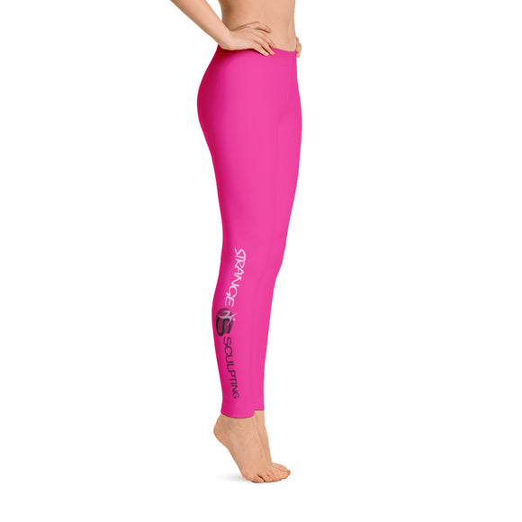 Strange Sculpting Side Print Fuchsia Leggings