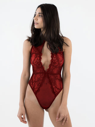 Lace And Mesh Keyhole Body Suit - Red Sneaky Vaunt
