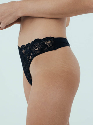 Lace Front Thong Sneaky Vaunt Panties Black Size S