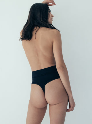 Tummy Cinching Thong - Midnight Black M