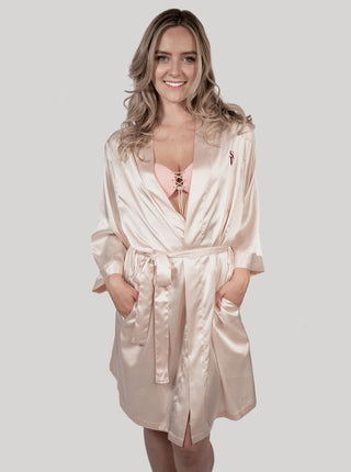 Satin Robe - Rose Pink