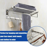 Stainless Steel 2 Towel Rack with Hooks for Bathroom and Toilet