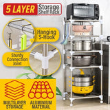 5 LAYER Tier Aluminium Household Storage Rack Shelf for [ Living Room / Kitchen / Bathroom ]