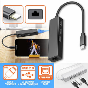 1 Port Type-C USB to Ethernet Cable & 3 USB 2.0 Port Cable Hub