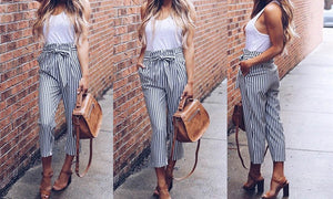 Stylish Women's High Waist Croppes Pants with Tie