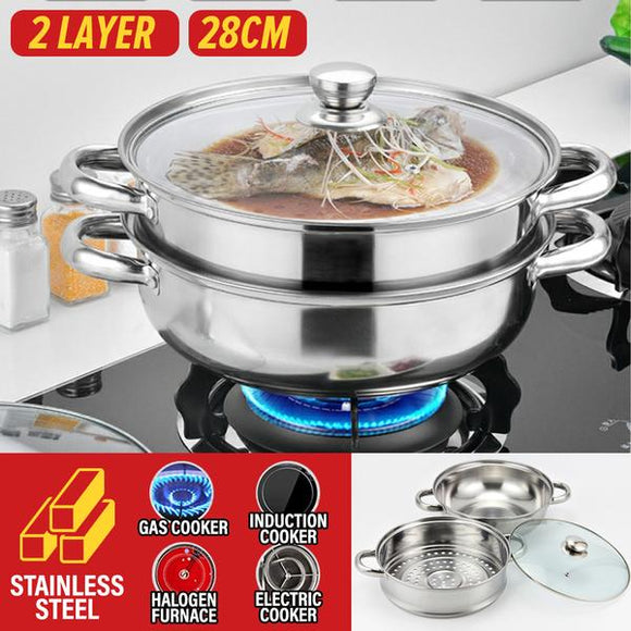 [ 28CM ] 2 LAYER Multipurpose Kitchen Cooking Soup Pot & Steamer