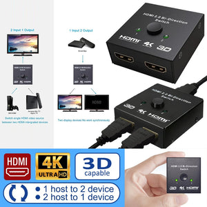 HDMI 2.0 Bi-Direction Switch | 1 Host to 2 Device / 2 Host to 1 Device | Support 4K Ultra HD & 3D Resolution