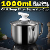 1000ml Oil Soup Filter Separator Cup SU304 Stainless Steel