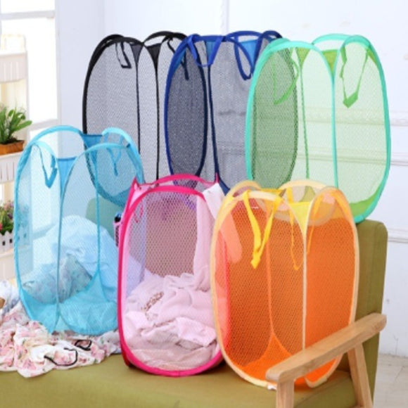 Storage Baskets Laundry Clothes Laundry Basket Bag Foldable Pop Up Easy Open Mesh Laundry Clothes Hamper Basket for College Dorm